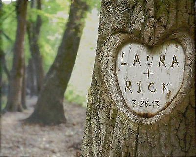 PERSONALIZED Tree Carving Picture UN-FRAMED – Wedding/Anniv.GIFT– Add Names+Date