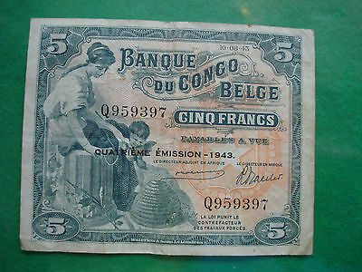 belgian belge congo 5 francs 1943 P13Ab nice collectable grade freepost