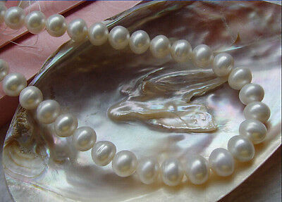 """18"""" Hot Huge 10-11Mm White Japanese Akoya Pearl Necklace 14K Gold Clasp"""