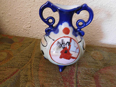 JAPANESE  Handled/ Footed Cobalt Trimmed Hand Painted Small VASE ~FREE SHIP~