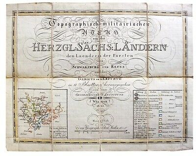 1813 Separately Issued Map - SAXON COUNTRIES - Hand Coloured Outlines
