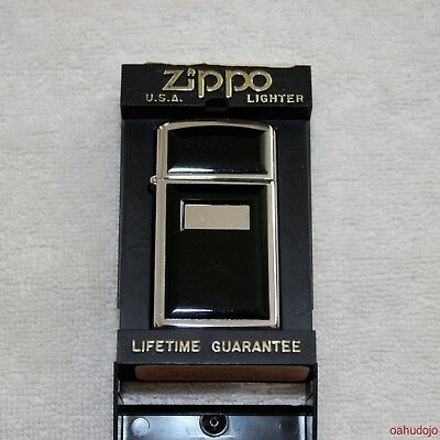 ZIPPO Lighter ULTRALITE SLIM Model 1655 AND LEATHER POUCH/CLIP - Brown