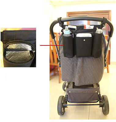 1pc Kid Baby Stroller black haning bag phone/diaper/milk bottle insulated bag