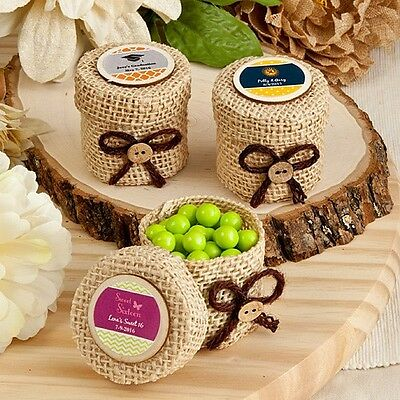 100 Personalized Burlap Favor Boxes Wedding Shower Party Gift Favors