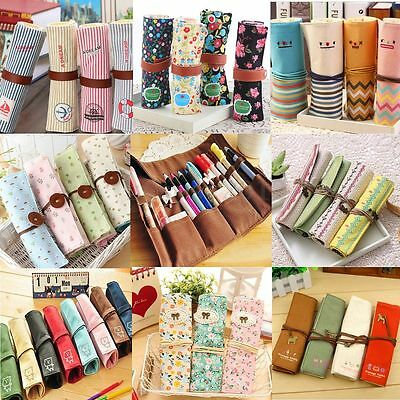 Student Stationery Canvas Roll Up Pencil Case Pen Brush Wrap Makeup Cosmetic Bag
