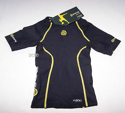 Skins Youth Active A200 Compression Short Sleeve Top Black Yellow Size S New