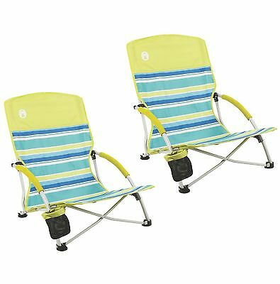 (2) Coleman Utopia Breeze Beach Sling Camping Chairs w/ Cup Holder & Carry Bag