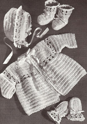 Vintage Crochet PATTERN to make Baby Sacque Bonnet Booties Set InsetFlowerSet