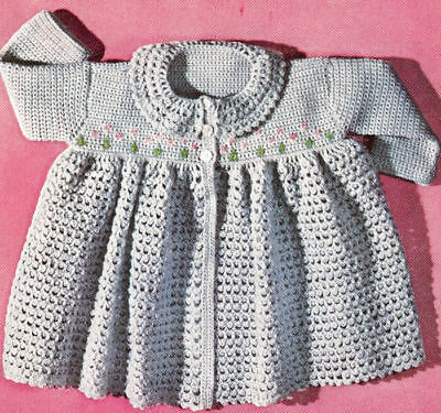 Vintage Crochet PATTERN Baby Sacque Sweater Robe Flower