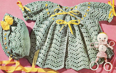Vintage Crochet PATTERN to make Baby Sacque Sweater Bonnet Hat Shell ChevronSet