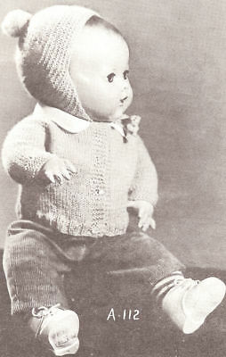 """Knitting PATTERN Baby Doll Clothes 10""""-18"""" Sweater Cap"""