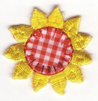Yellow Red Plaid Sunflower Embroidery Applique Patch