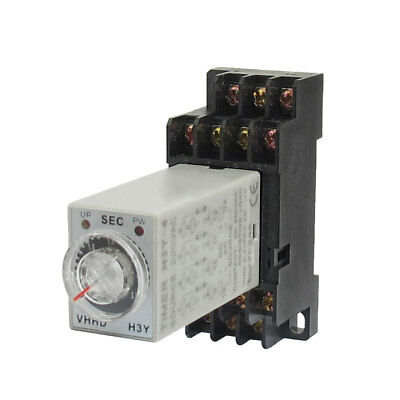 AC 220V 4PDT 14P Terminals 0-3S Timer Delay Time Relay H3Y-4 w Socket