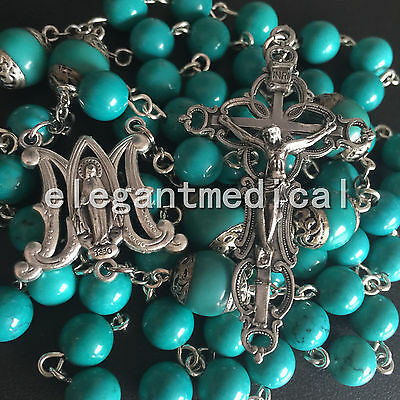 Valuable Turquoise BEADS CATHOLIC AVE MARIA ROSARY NECKLACE CROSS ITALY CRUCIFIX