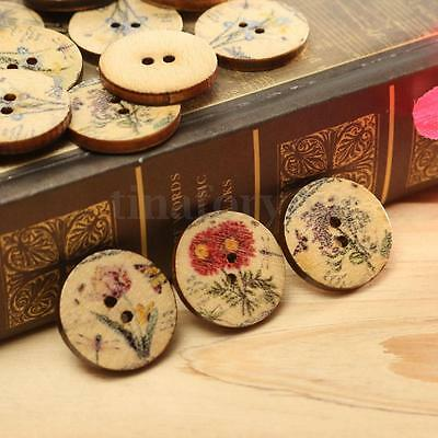 100 Pcs Mixed Flower Pattern 2 Holes Wood Sewing Buttons Scrapbooking 20mm