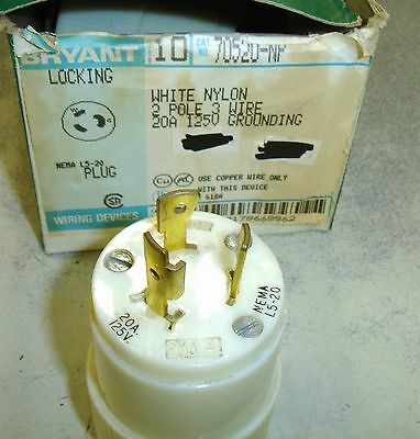 Bryant 70520-NP Nylon Nema L5-20 twistlock 20 amp 125 volt Connector Male $16
