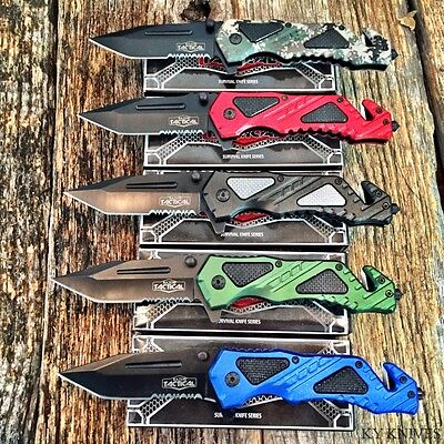 5PC Dealer Lot Assorted Spring Assisted Open TACTICAL Rescue Pocket Knife Combat