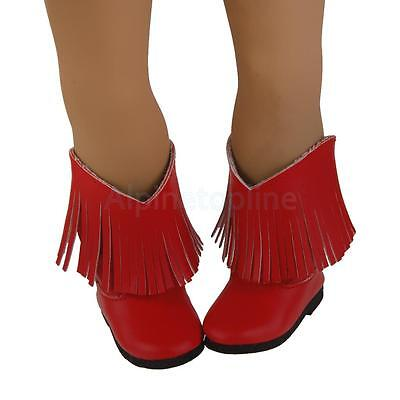 Trendy Red PU Tassel Boots Shoes for 18inch American Girl Dolls Party Dress