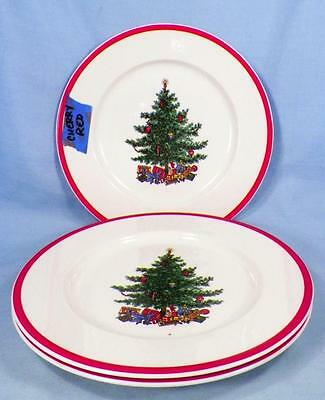 3 Holly & Spruce Salad Plates Taylor Smith Taylor Christmas Tree Red Trim Retro