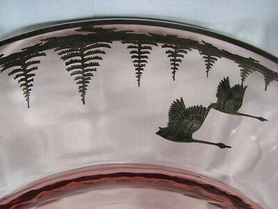 BEST Antique Deco Signed Rockwell Silver Overlay Geese Vintage Optic Glass Dish