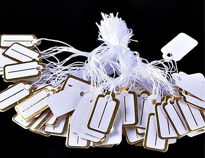 "100 WHITE Price Jewelry Inventory TAGS with Gold Trim + Line w String 1""x 1/2"""