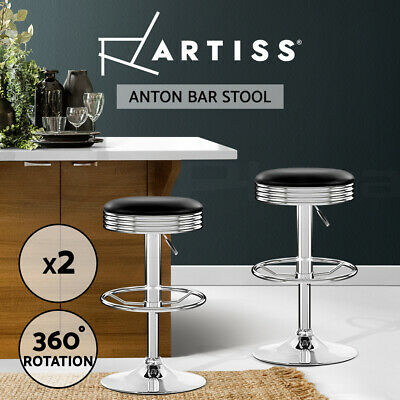 2x PU Leather Bar stool Barstool Kitchen Chair Black Anton 7009 Swivel Gas Lift