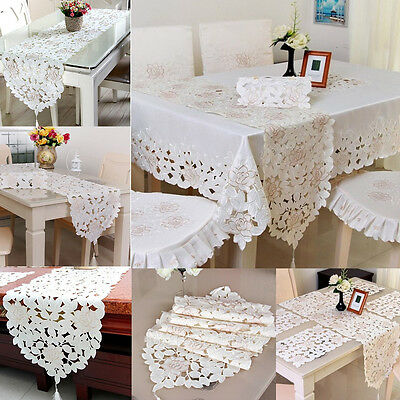 YAZI White Embroidered Flower Table Runner Christmas Dinning Decoration Cover