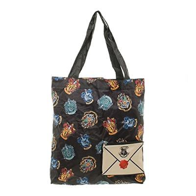 Harry Potter Crest Packable Tote Bag | Hogwarts Crest and Letter Design Bag