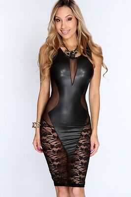 Black Floral Lace Pvc Wet Look Babydoll Lingerie Night Dress Size 12 14 16