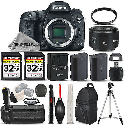 Canon EOS 7D Mark II DSLR Camera + 50mm 1.8 II + BATT GRIP + EXT BATT - 64GB KIT