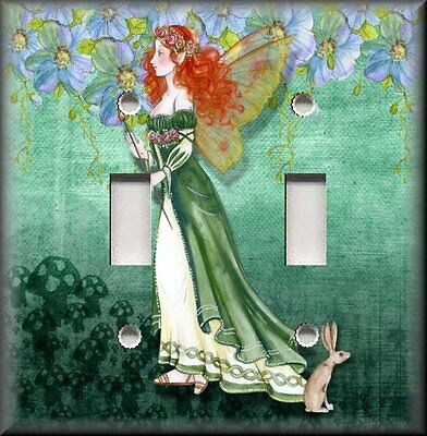 Metal Light Switch Plate Cover - Fantasy Fairy Decor Fairies Home Decor Green