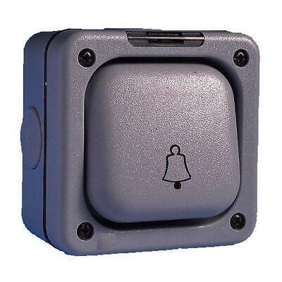 IP66 Outdoor Weatherproof Bell Push Switch 1 Gang 10 Amp Single Pole Grey
