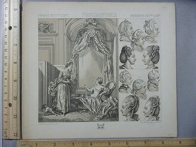 Rare Antique Original VTG 18th Cent France Ladies Hair Boudoir Litho Art Print