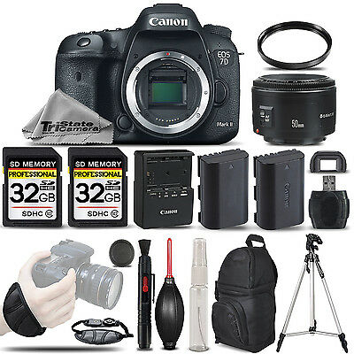 Canon EOS 7D Mark II DSLR Camera + Canon 50mm 1.8 II + EXT BATT + 64GB BUNDLE