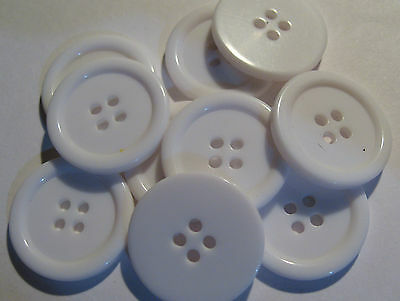 10 x Large WHITE 4-Hole Plastic Buttons 22mm Wide (SB6C)