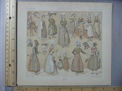 Rare Antique Original VTG French Female Hats Fashion Scenes Litho Art Print