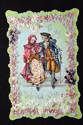 c.1900 Embossed Valentine Themed Embossed Card TO MY BELOVED ONE - Colonial