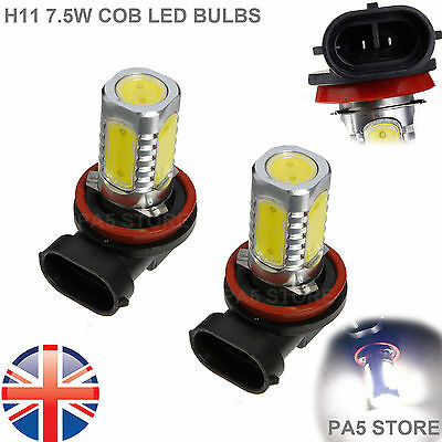 2x H11 COB LED 7.5W ULTRA BRIGHT White 6000K Car Bulb Fog Light DRL light 12V UK