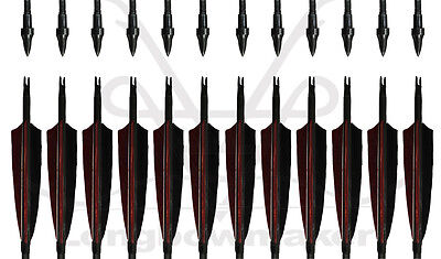 "LongbowmakerArchery 30-32"" Black And Red Carbon Arrows Target Field Screw Tips"