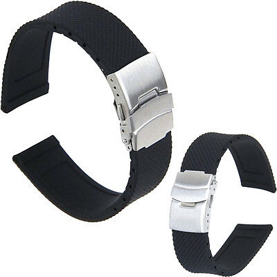 Black Silicone Rubber Waterproof Watch Strap Band Deployment Buckle 20mm,22mm
