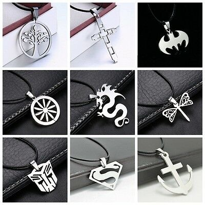 Stainless Steel Superhero Pendant Necklace Medallion Anime Logo With Chain