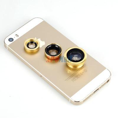 3 in1 Clip-On Camera Fish Eye + Wide Angle + Macro Lens Lens for Cell Phone Gold