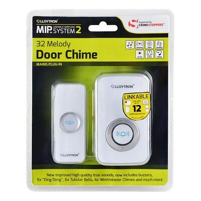 32 Chime Wireless Door Bell Cordless 100M Range Quality LLOYTRON Melody White