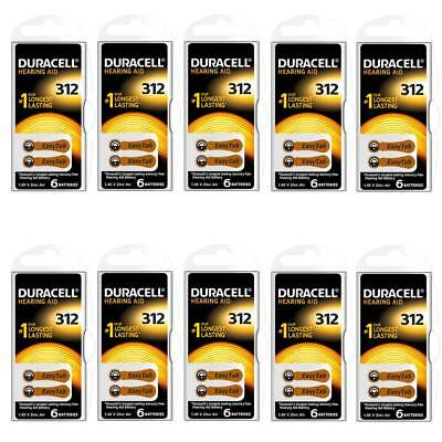 60x Duracell Activair Size 312 (Brown tab) Hearing Aid Batteries BEST VALUE PACK