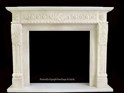 Beautiful Hand Carved Marble European Design Marble Figural Fireplace Mantel Z2