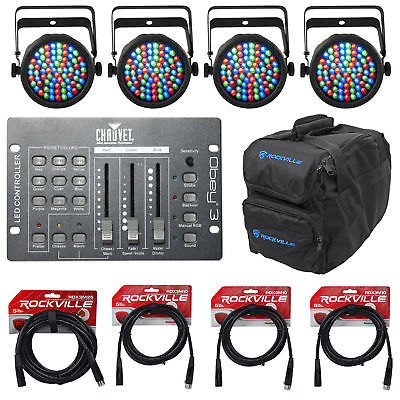 4) Chauvet DJ SLIMPAR 38 3/7 Ch. Par Can Stage Lights+DMX Controller+Bag+Cables