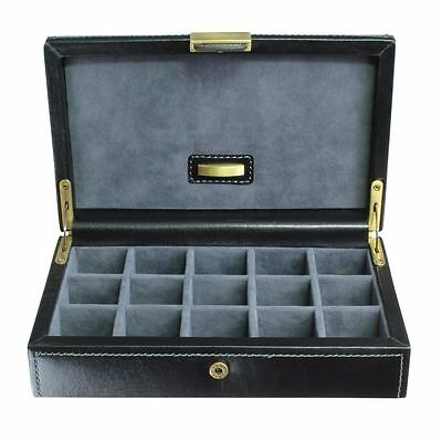 Dulwich Designs Leather Heritage Black 15 Cufflink Box