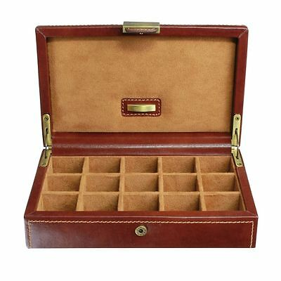 Dulwich Designs Leather Heritage Chestnut 15 Pair Cufflink Box