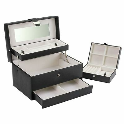 Boutique Large Black Cantilever Jewellery Box with Travel Box