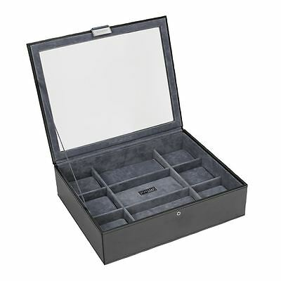 Stackers by LC Designs Exec Black Watch Lidded 15 Piece Watch Tray